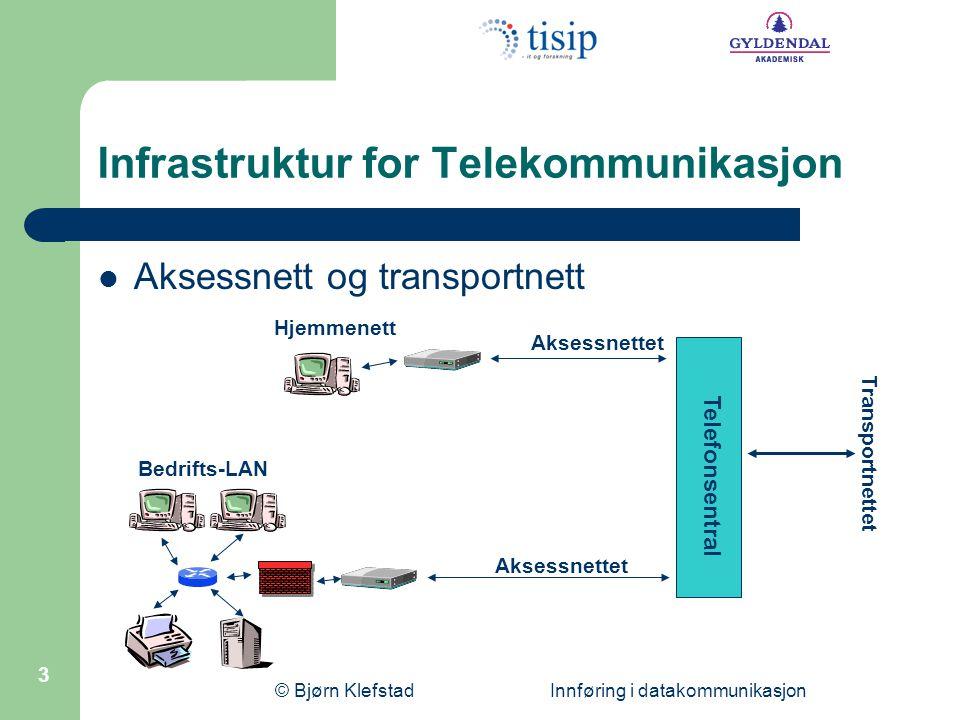 © Bjørn Klefstad Innføring i datakommunikasjon 3 Infrastruktur for Telekommunikasjon  Aksessnett og transportnett Hjemmenett Bedrifts-LAN Transportnettet Aksessnettet Telefonsentral