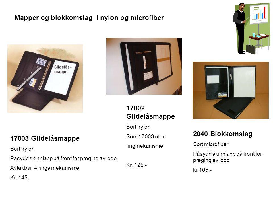 Mapper og blokkomslag i nylon og microfiber 17003 Glidelåsmappe Sort nylon Påsydd skinnlapp på front for preging av logo Avtakbar 4 rings mekanisme Kr