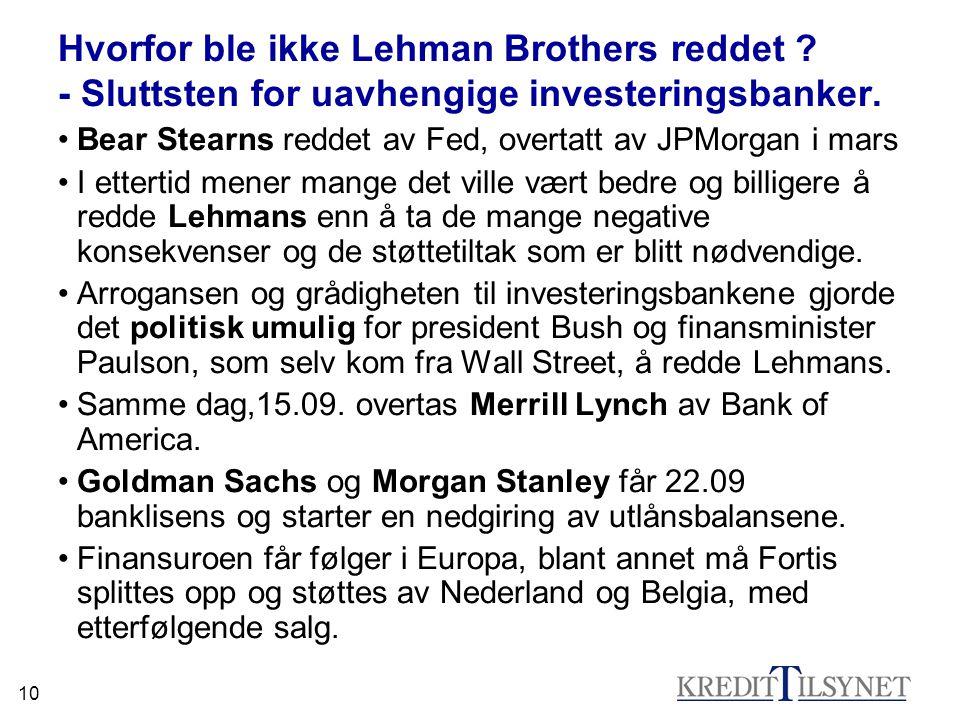 10 Hvorfor ble ikke Lehman Brothers reddet ? - Sluttsten for uavhengige investeringsbanker. •Bear Stearns reddet av Fed, overtatt av JPMorgan i mars •
