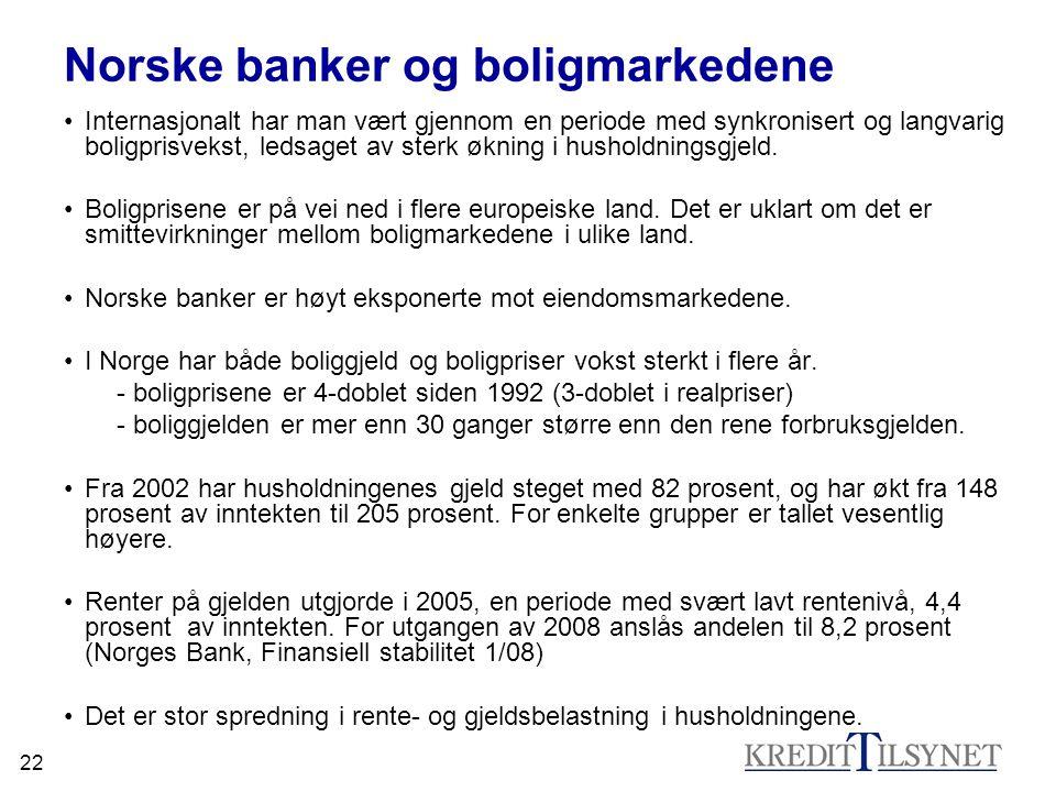 22 Norske banker og boligmarkedene •Internasjonalt har man vært gjennom en periode med synkronisert og langvarig boligprisvekst, ledsaget av sterk økn