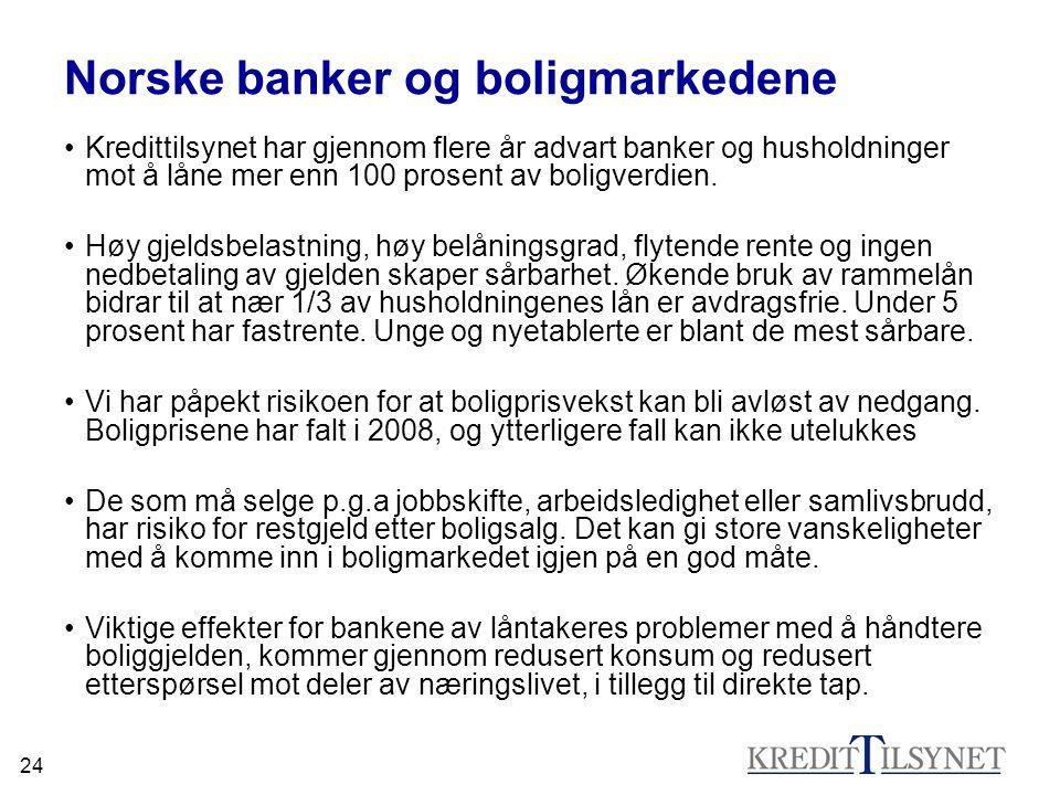 24 Norske banker og boligmarkedene •Kredittilsynet har gjennom flere år advart banker og husholdninger mot å låne mer enn 100 prosent av boligverdien.