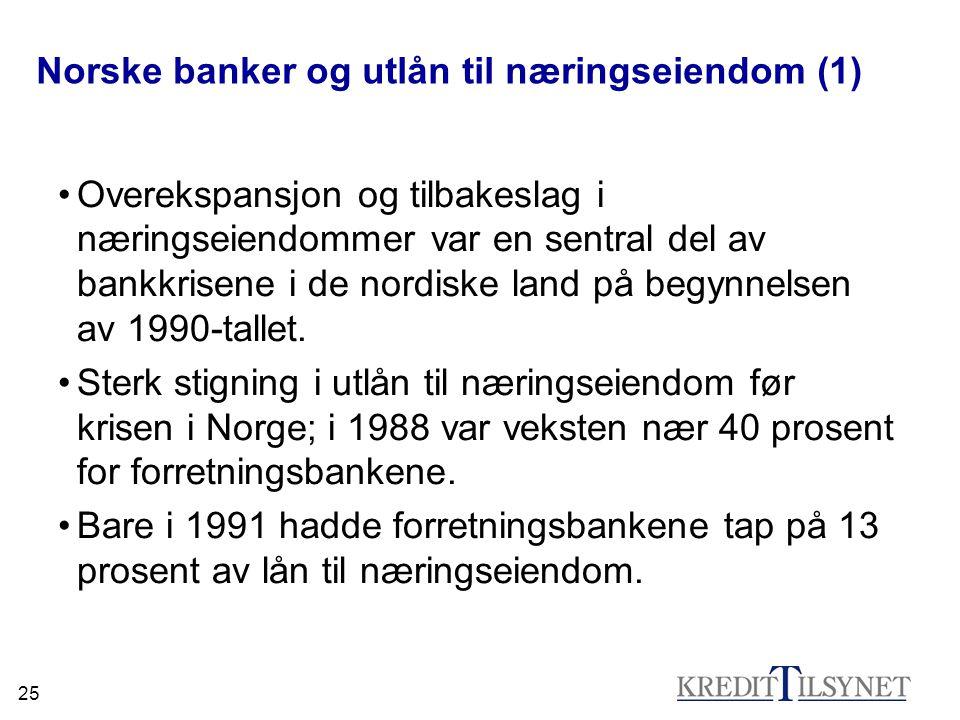 25 Norske banker og utlån til næringseiendom (1) •Overekspansjon og tilbakeslag i næringseiendommer var en sentral del av bankkrisene i de nordiske la
