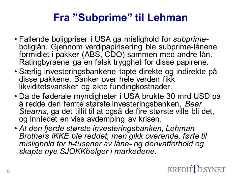 """3 Fra """"Subprime"""" til Lehman •Fallende boligpriser i USA ga mislighold for subprime- boliglån. Gjennom verdipapirisering ble subprime-lånene formidlet"""