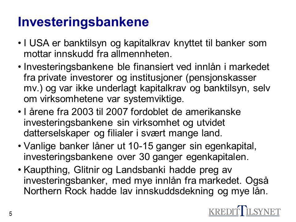 5 Investeringsbankene •I USA er banktilsyn og kapitalkrav knyttet til banker som mottar innskudd fra allmennheten. •Investeringsbankene ble finansiert
