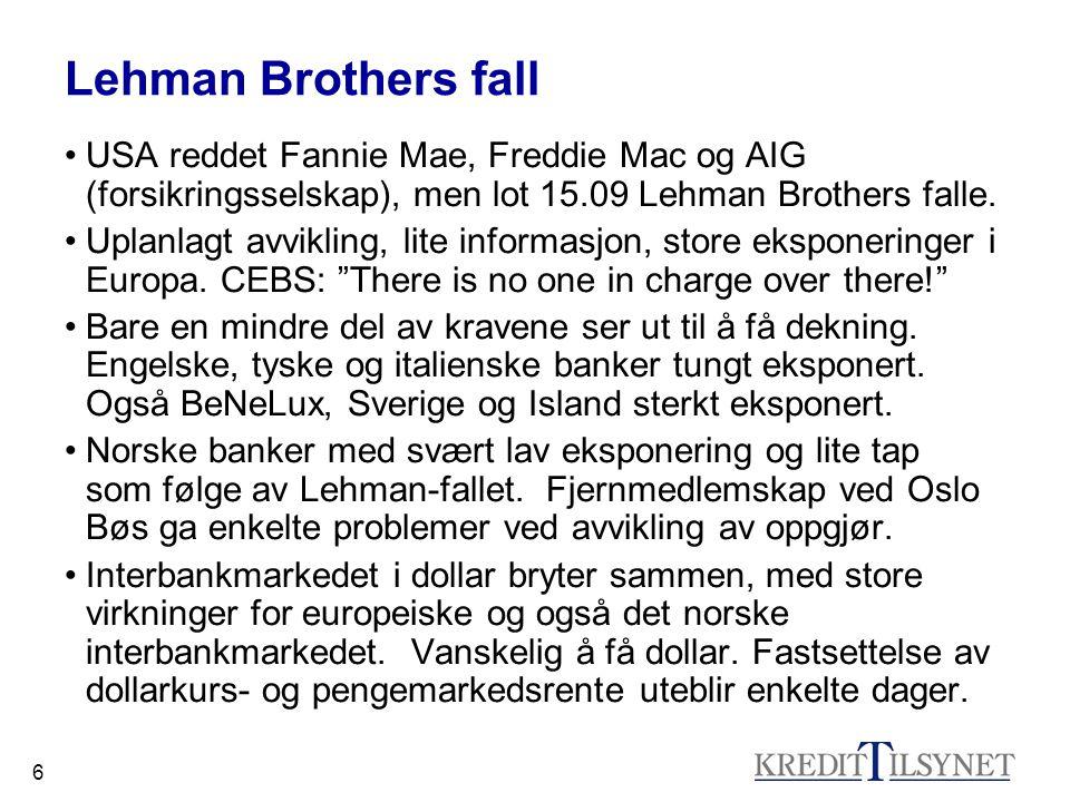 6 Lehman Brothers fall •USA reddet Fannie Mae, Freddie Mac og AIG (forsikringsselskap), men lot 15.09 Lehman Brothers falle. •Uplanlagt avvikling, lit