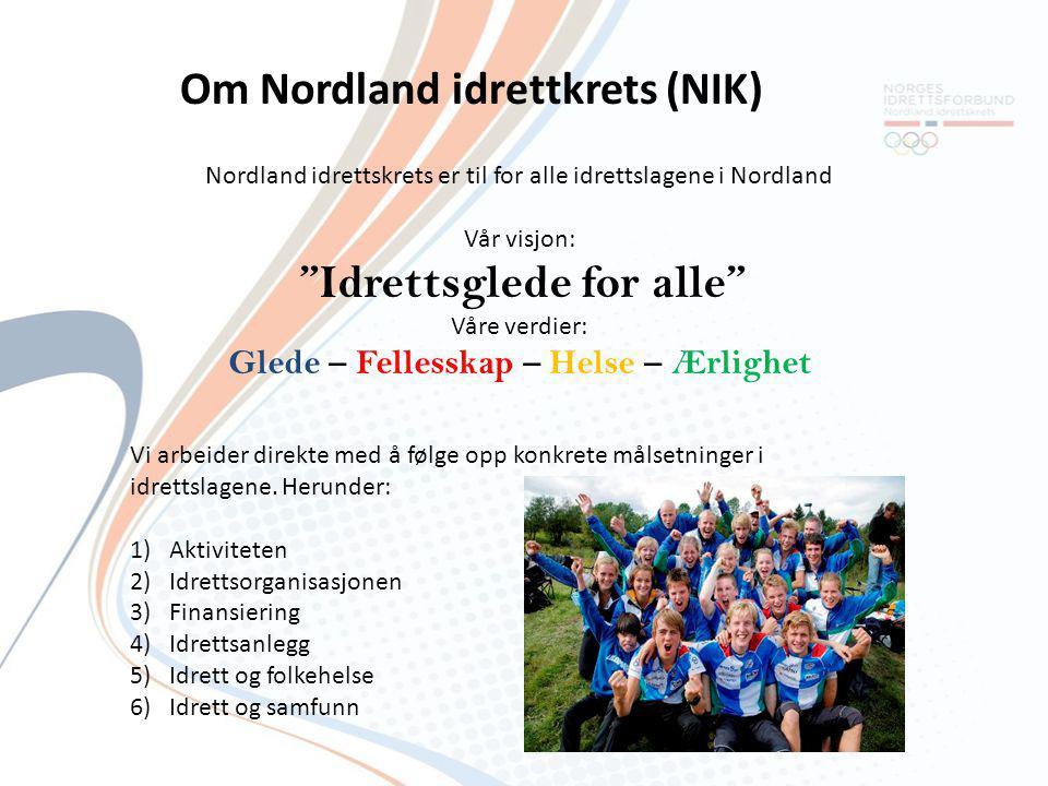 """Nordland idrettskrets er til for alle idrettslagene i Nordland Vår visjon: """"Idrettsglede for alle"""" Våre verdier: Glede – Fellesskap – Helse – Ærlighet"""