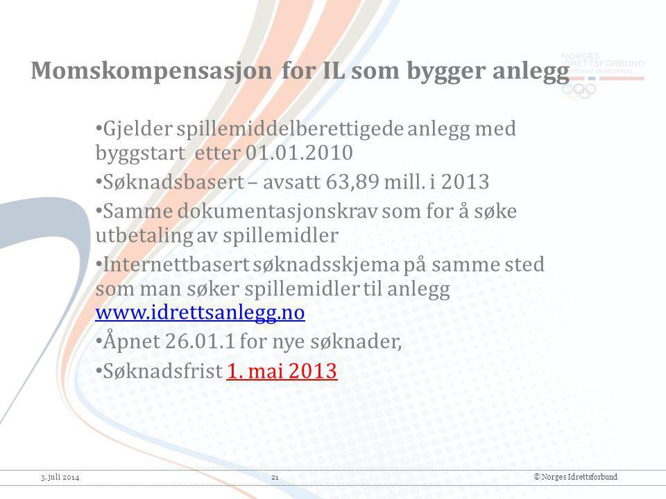 3. juli 2014 21© Norges Idrettsforbund • Gjelder spillemiddelberettigede anlegg med byggstart etter 01.01.2010 • Søknadsbasert – avsatt 63,89 mill. i