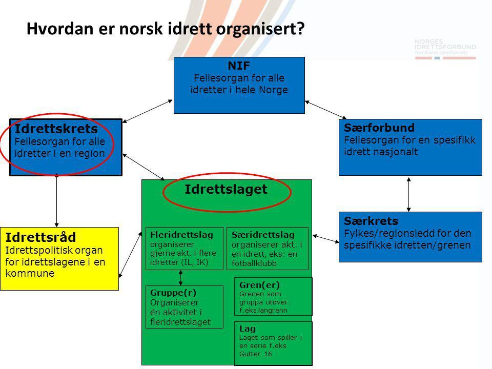 NIF Fellesorgan for alle idretter i hele Norge Idrettskrets Fellesorgan for alle idretter i en region Idrettsråd Idrettspolitisk organ for idrettslage