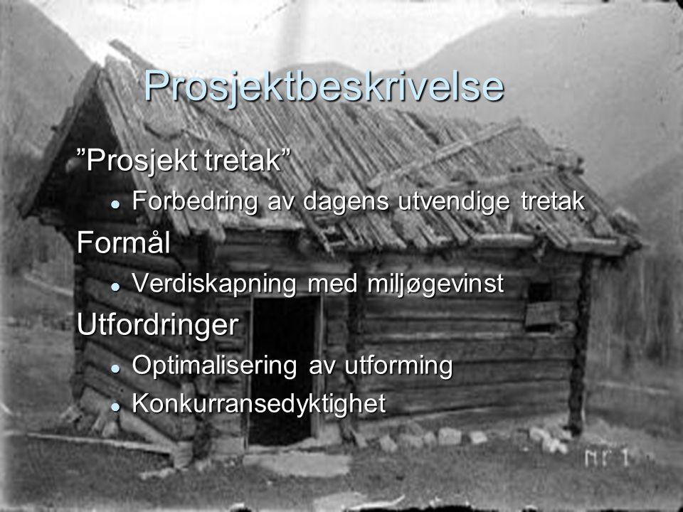 """Prosjektbeskrivelse """"Prosjekt tretak""""  Forbedring av dagens utvendige tretak Formål  Verdiskapning med miljøgevinst Utfordringer  Optimalisering av"""