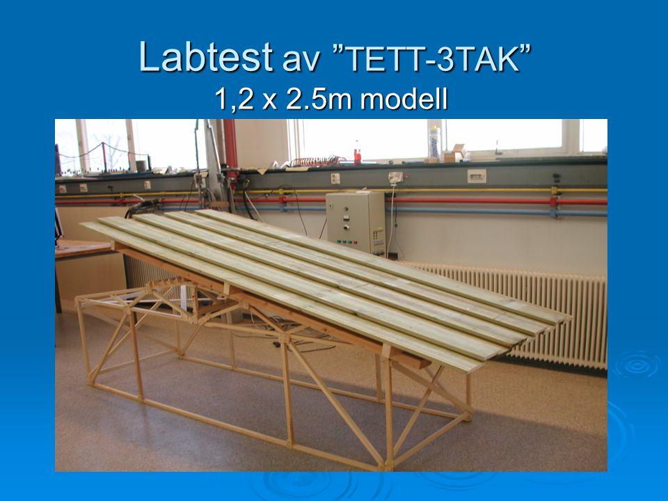"""Labtest av """" TETT-3TAK """" 1,2 x 2.5m modell 1,2 x 2.5m modell"""