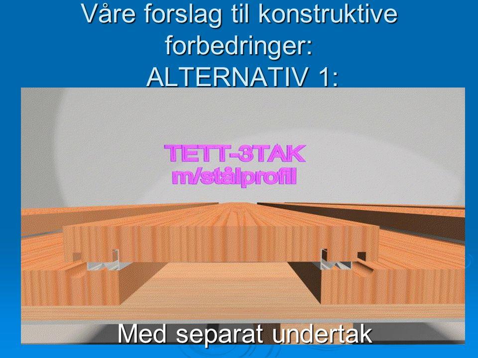 Våre forslag til konstruktive forbedringer: ALTERNATIV 1: Med separat undertak Med separat undertak