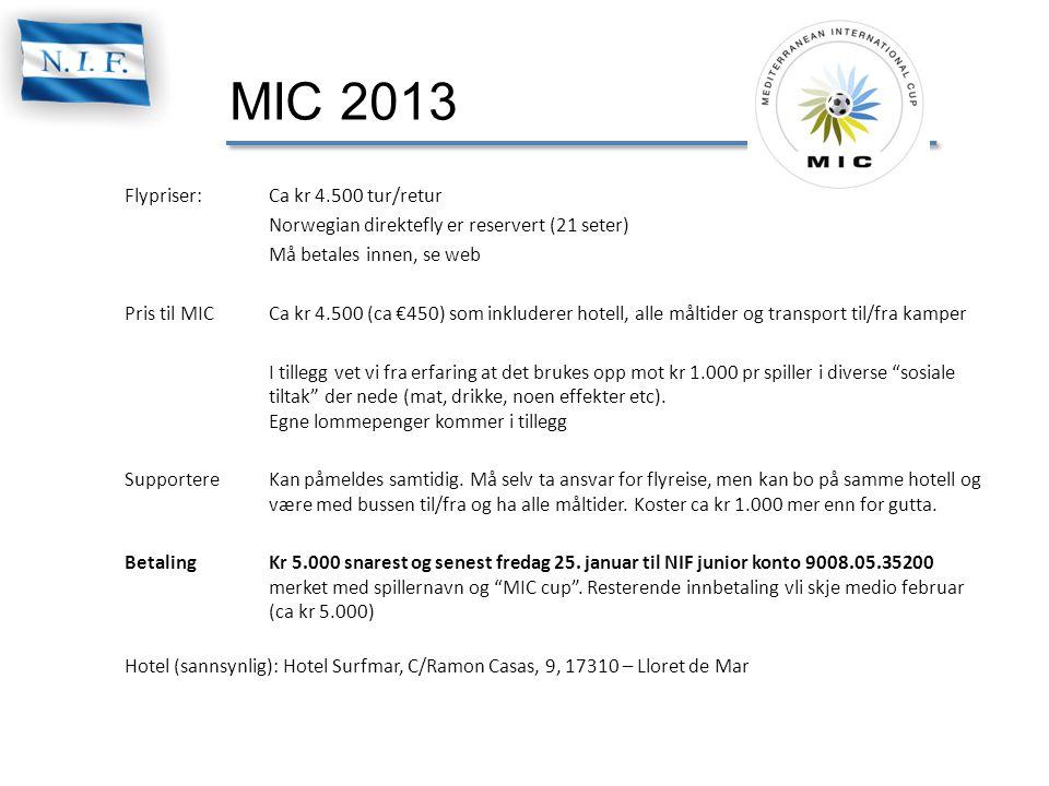MIC 2013 Flypriser:Ca kr 4.500 tur/retur Norwegian direktefly er reservert (21 seter) Må betales innen, se web Pris til MICCa kr 4.500 (ca €450) som i