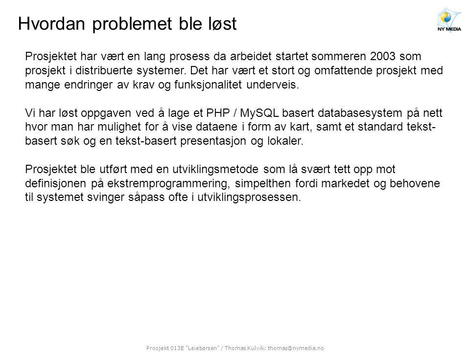 Prosjekt 013E Leiebørsen / Thomas Kulvik: thomas@nymedia.no Resultater Resultatet av prosjektet ble flere ting: •Et ferdig system for administrasjon / presentasjon av næringseiendom på nett i form av både kart og tekst.