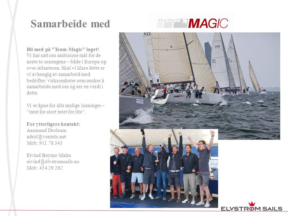 Kategorier for samarbeid med Team Magic; Vi ønsker å dele inn samarbeidspartnerne våre i tre kategorier på følgende måte: Gull (1-2): Profilering på båtens skrog og/eller seil inkl.