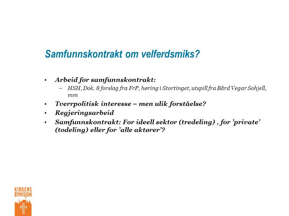 Samfunnskontrakt om velferdsmiks. •Arbeid for samfunnskontrakt: –HSH, Dok.