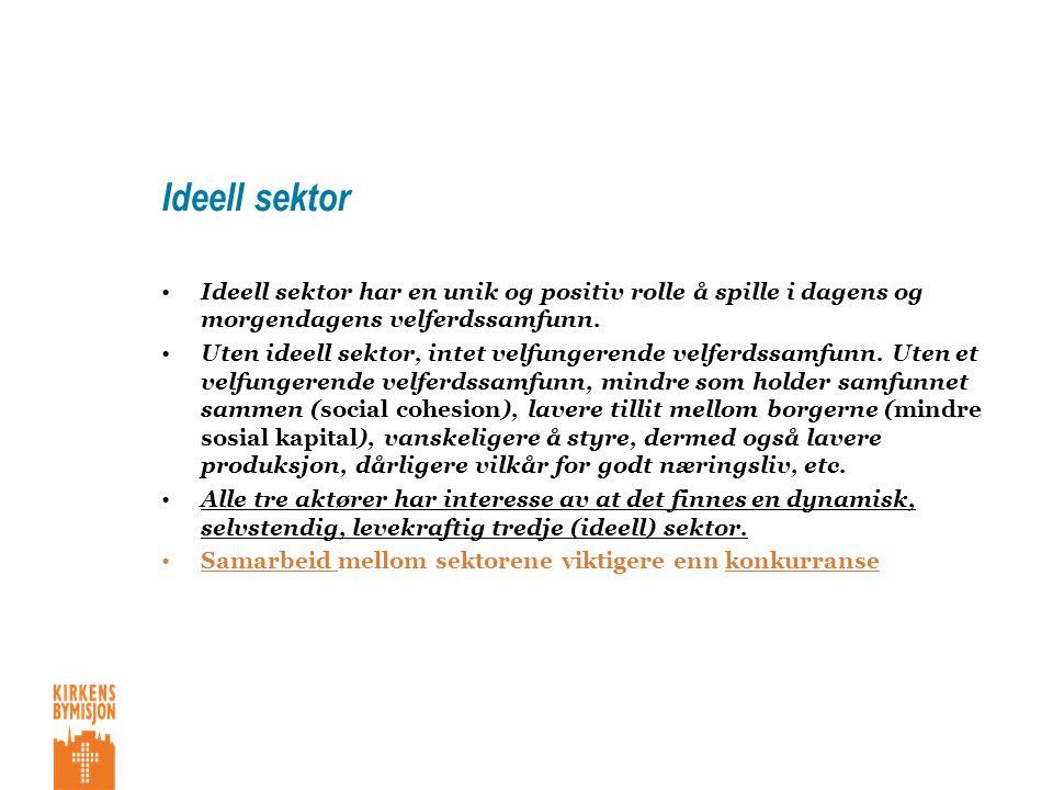 Ideell sektor •ideell sektor har en unik og positiv rolle å spille
