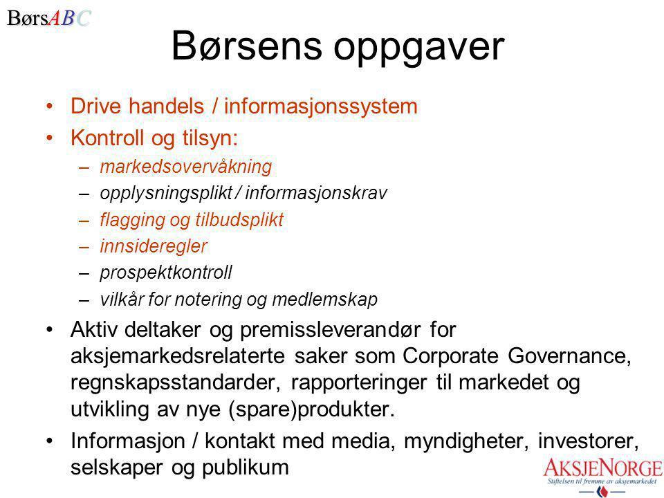 NOREX – 8 europeiske børser på samme tekniske handelssystem, 6 børser under samme eierparaply. • Oslo Børs • Stockholmsbörsen • Københavns Fondsbørs •