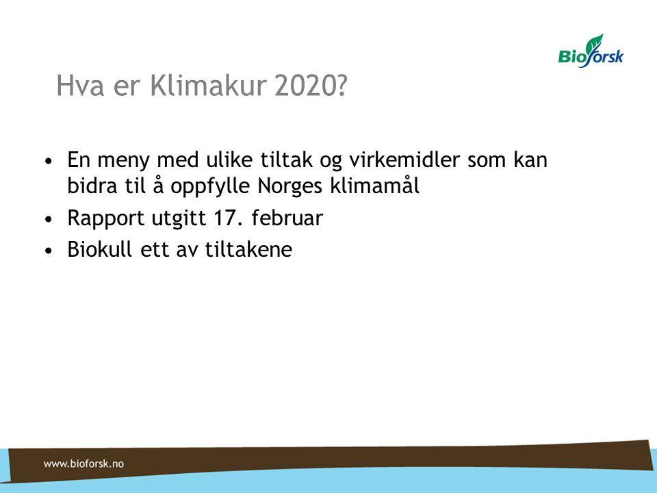 Hva er Klimakur 2020? •En meny med ulike tiltak og virkemidler som kan bidra til å oppfylle Norges klimamål •Rapport utgitt 17. februar •Biokull ett a