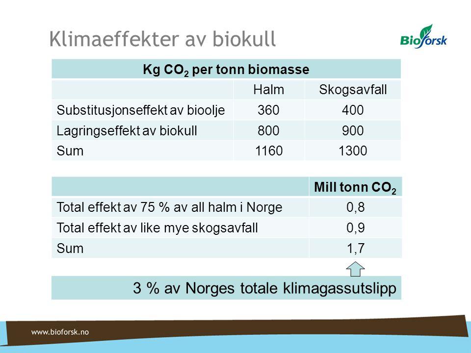 Klimaeffekter av biokull Kg CO 2 per tonn biomasse HalmSkogsavfall Substitusjonseffekt av bioolje360400 Lagringseffekt av biokull800900 Sum11601300 Mill tonn CO 2 Total effekt av 75 % av all halm i Norge0,8 Total effekt av like mye skogsavfall0,9 Sum1,7 3 % av Norges totale klimagassutslipp