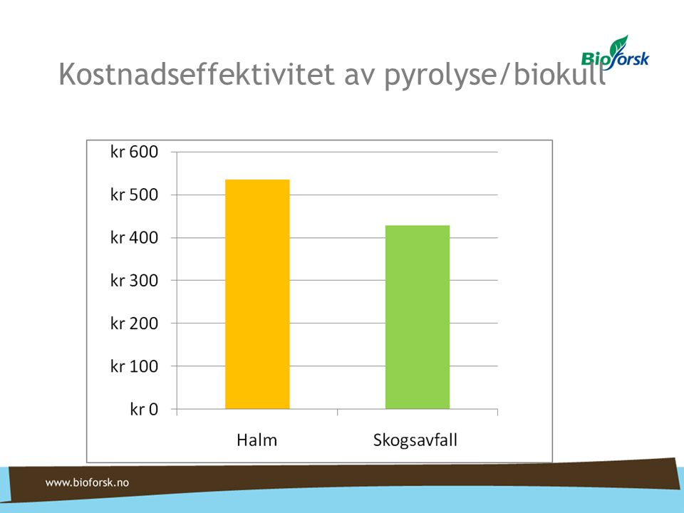 Kostnadseffektivitet av pyrolyse/biokull