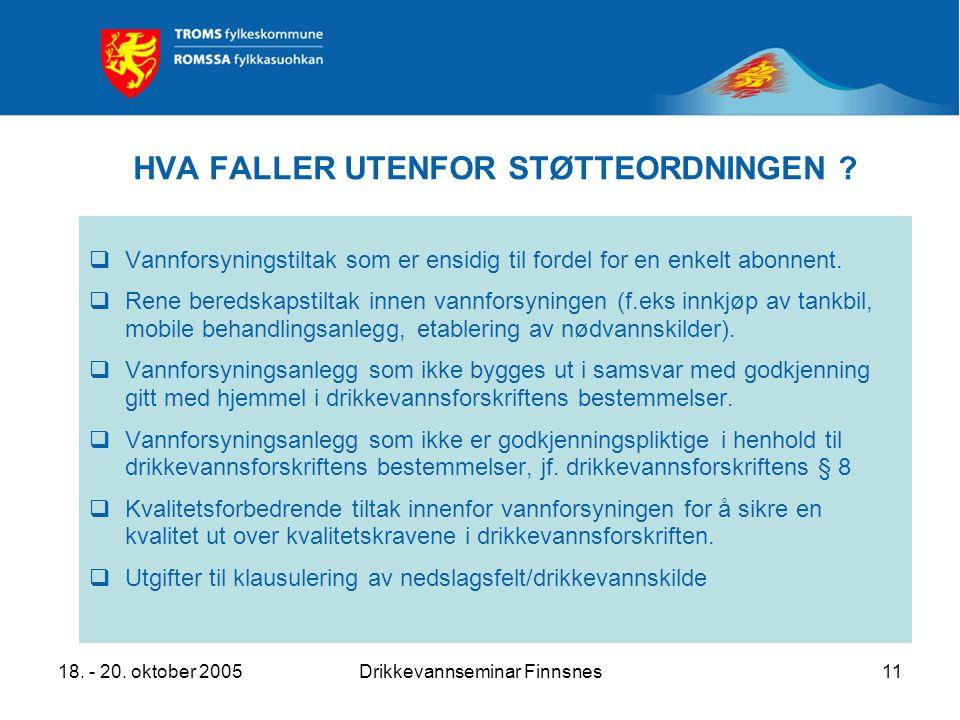 18. - 20. oktober 2005Drikkevannseminar Finnsnes11 HVA FALLER UTENFOR STØTTEORDNINGEN .
