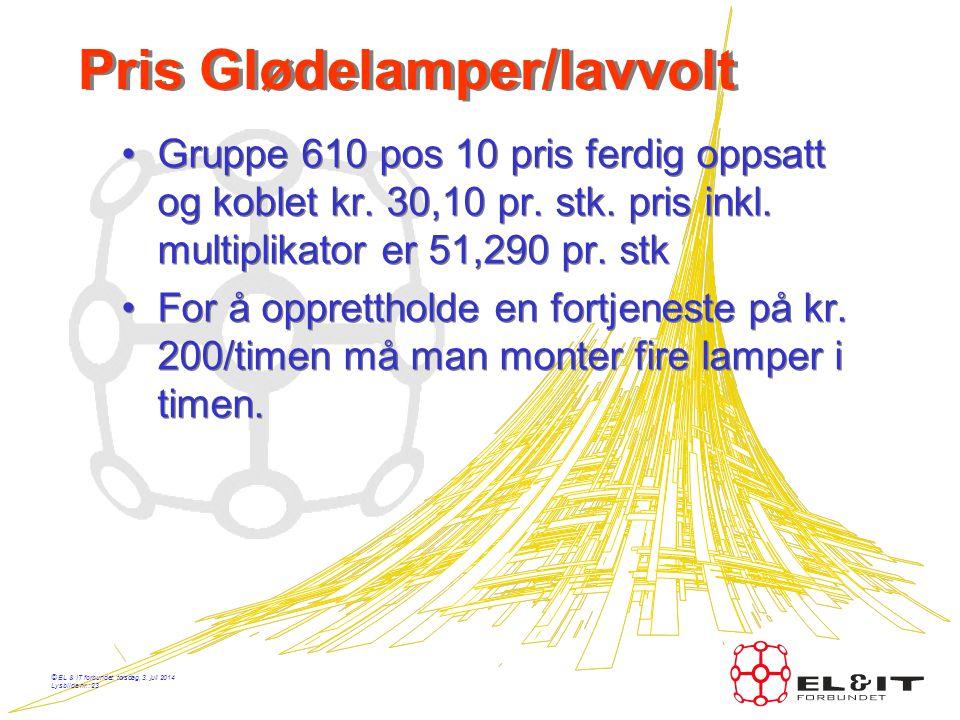 © EL & IT forbundet, torsdag, 3. juli 2014 Lysbilde nr.: 22 Pris kabel på bro •Gruppe 525 pos. 10 t.o.m. 4x4mm2 pris kr. 6.04 pr/m inkl. multiplikator