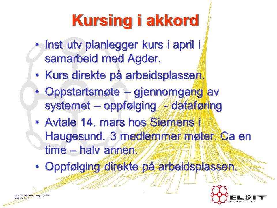 © EL & IT forbundet, torsdag, 3. juli 2014 Lysbilde nr.: 27 Statistikk •Akkord – Buskerud: Snitt ca 250,- pr time. •YIT Lier:Snitt ca 260,- •Fastlønn
