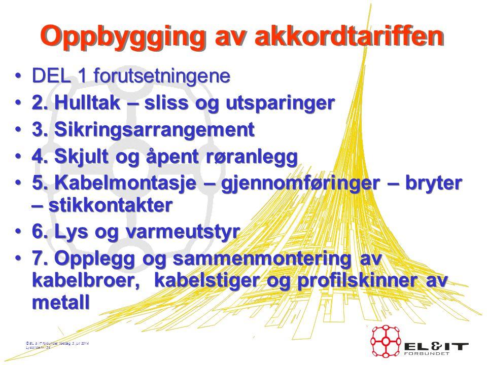 © EL & IT forbundet, torsdag, 3. juli 2014 Lysbilde nr.: 33 Oppbygging av akkordtariffen •8. Kanalsystemer •9. Strømskinner i hovedfordelingsanlegg •1