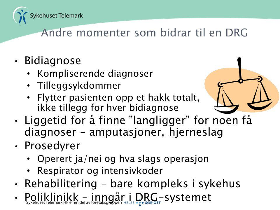Andre momenter som bidrar til en DRG •Bidiagnose • Kompliserende diagnoser • Tilleggsykdommer • Flytter pasienten opp et hakk totalt, ikke tillegg for