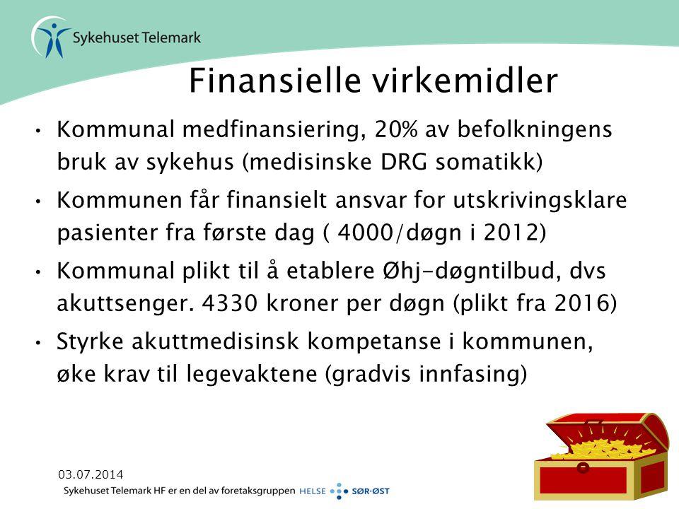 03.07.2014Side 4 Finansielle virkemidler •Kommunal medfinansiering, 20% av befolkningens bruk av sykehus (medisinske DRG somatikk) •Kommunen får finan
