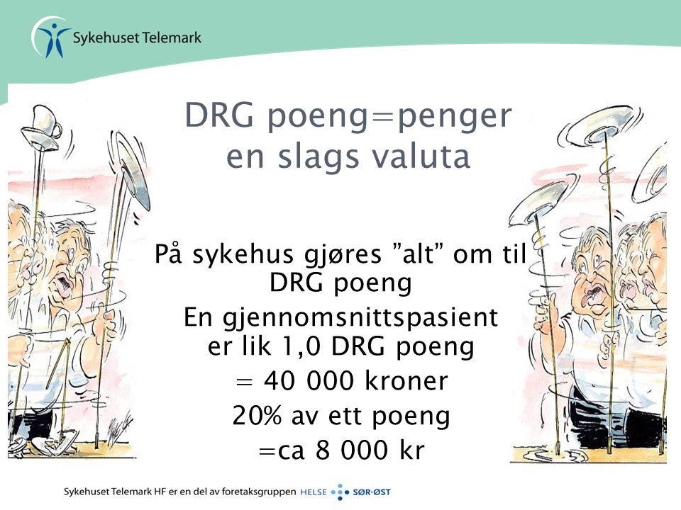 """DRG poeng=penger en slags valuta På sykehus gjøres """"alt"""" om til DRG poeng En gjennomsnittspasient er lik 1,0 DRG poeng = 40 000 kroner 20% av ett poen"""