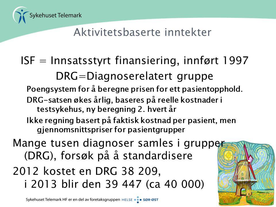 Aktivitetsbaserte inntekter ISF = Innsatsstyrt finansiering, innført 1997 DRG=Diagnoserelatert gruppe Poengsystem for å beregne prisen for ett pasient