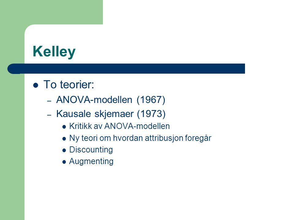 Kelley  To teorier: – ANOVA-modellen (1967) – Kausale skjemaer (1973)  Kritikk av ANOVA-modellen  Ny teori om hvordan attribusjon foregår  Discoun