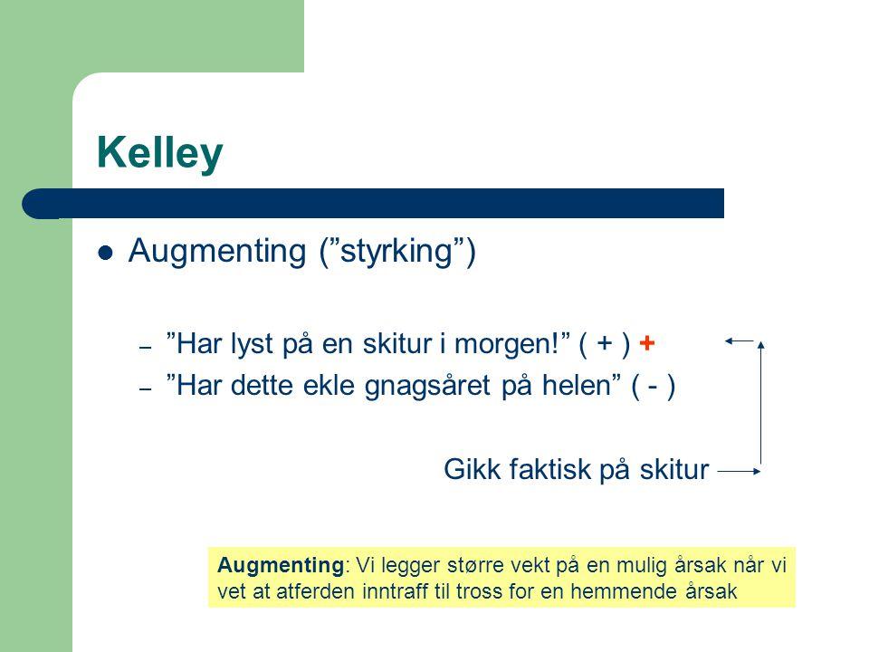 """Kelley  Augmenting (""""styrking"""") – """"Har lyst på en skitur i morgen!"""" ( + ) + – """"Har dette ekle gnagsåret på helen"""" ( - ) Gikk faktisk på skitur Augmen"""