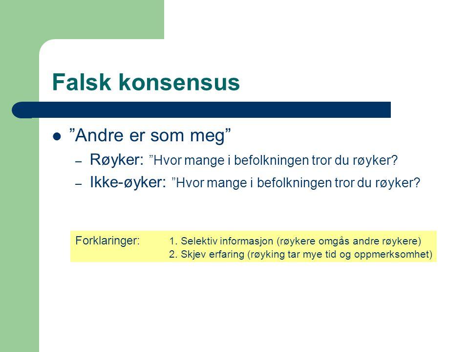 """Falsk konsensus  """"Andre er som meg"""" – Røyker: """"Hvor mange i befolkningen tror du røyker? – Ikke-øyker: """"Hvor mange i befolkningen tror du røyker? For"""