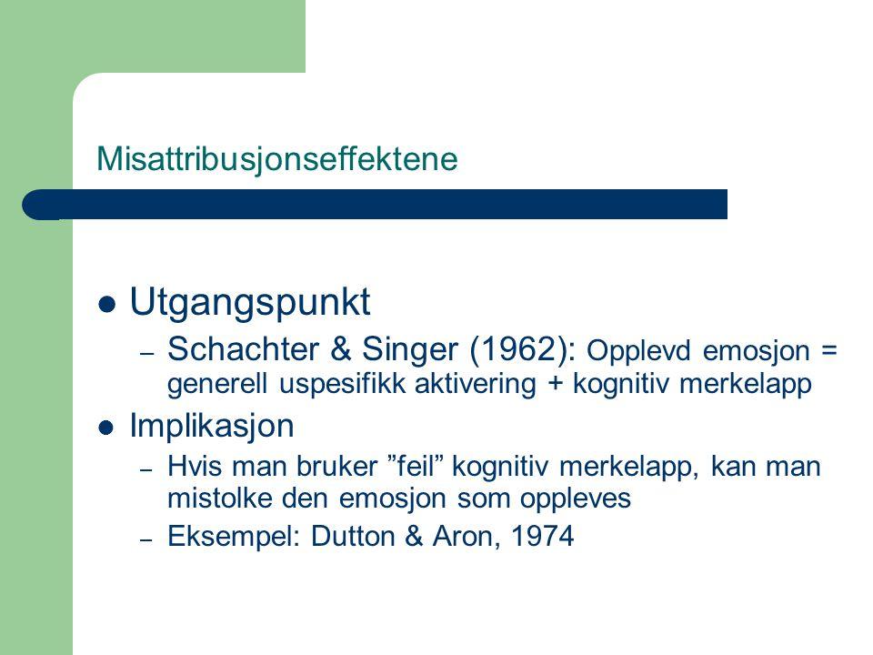 Misattribusjonseffektene  Utgangspunkt – Schachter & Singer (1962): Opplevd emosjon = generell uspesifikk aktivering + kognitiv merkelapp  Implikasj
