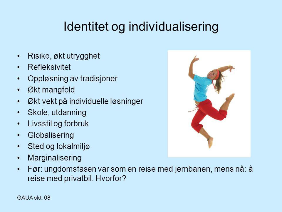 GAUA okt. 08 Identitet og individualisering •Risiko, økt utrygghet •Refleksivitet •Oppløsning av tradisjoner •Økt mangfold •Økt vekt på individuelle l