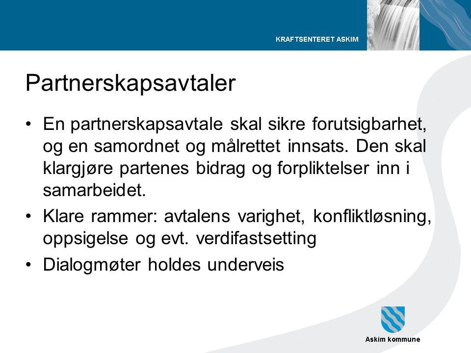 Partnerskapsavtaler •En partnerskapsavtale skal sikre forutsigbarhet, og en samordnet og målrettet innsats. Den skal klargjøre partenes bidrag og forp