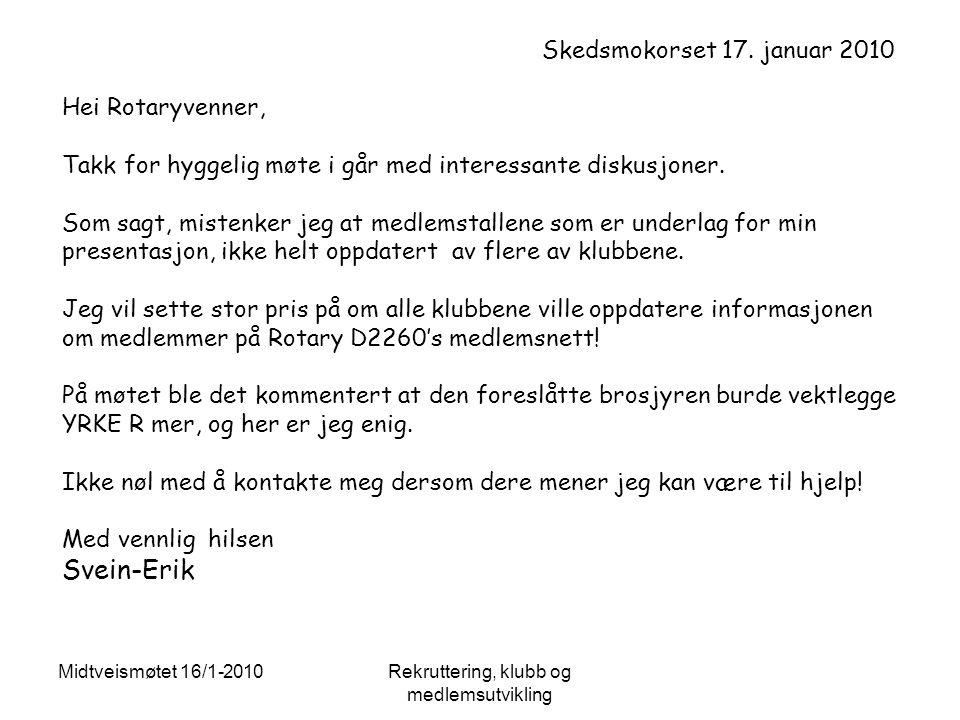 Midtveismøtet 16/1-2010Rekruttering, klubb og medlemsutvikling Skedsmokorset 17.