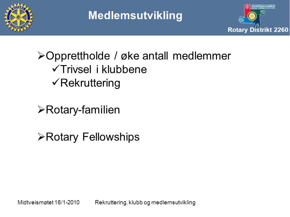 Rotary Distrikt 2260 Medlemsutvikling Rekruttering, klubb og medlemsutviklingMidtveismøtet 16/1-2010  Opprettholde / øke antall medlemmer  Trivsel i