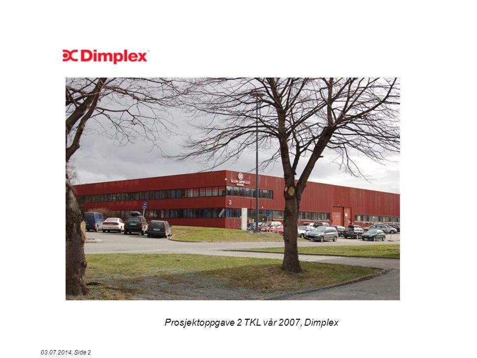 Prosjektoppgave 2 TKL vår 2007, Dimplex 03.07.2014, Side 13 P D A C Planlegge prosjekt HvaHvorforHvordanHvemHvorNår 1Innhente data fra fabrikk Oversikt over omfanget og frekvens Registrere data fra gule lapper Jan ErikDimplex AS 12.03 – 22.03 2Analysere data og finne grunnårsaker Studere hvor problemet oppstår Pareto, Fiskeben KF-gruppaDimplex AS 27.03 3Sette opp tiltakslistePrioritere riktig tiltak Rangering utifra data og erfaring KF-gruppaDimplex AS 09.04 4Gjennomføre tiltakOppnå målsetning Kun 1 tiltak om gangen Dimplex AS 13.04 5Kontrollere tiltakOversikt over omfanget og frekvens Ut av databasen til Jan Erik KF-gruppaDimplex AS 16.04 6Standardisere tiltakEndret mekanisk inngang Verksted har utført foreslått endring VerkstedDimplex AS 18.04