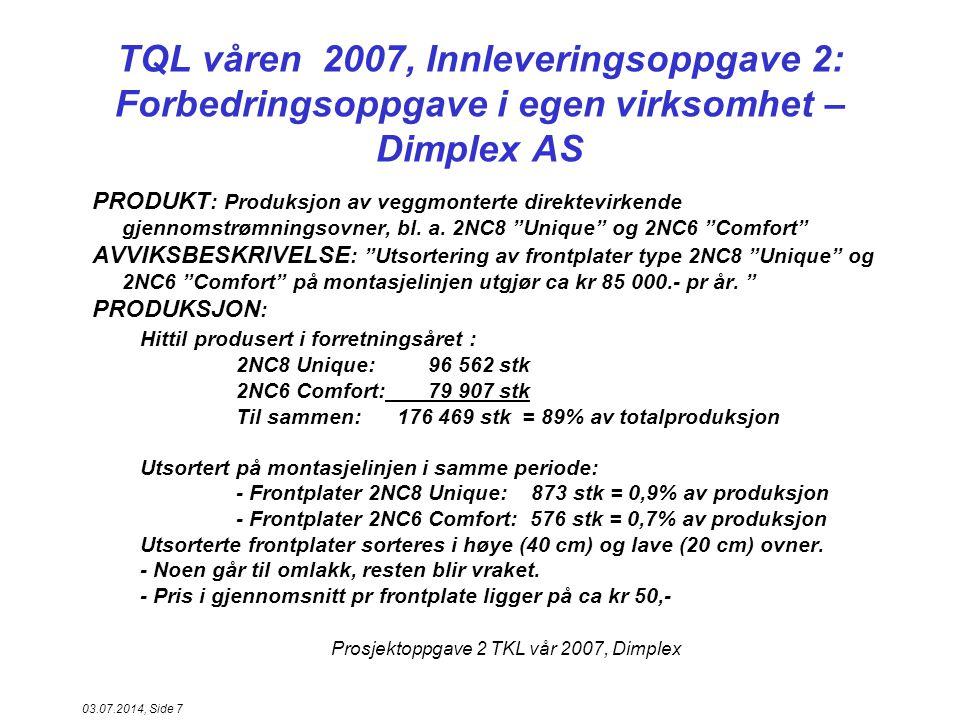 Prosjektoppgave 2 TKL vår 2007, Dimplex 03.07.2014, Side 8 TQL våren 2007, Innleveringsoppgave 2: Forbedringsoppgave i egen virksomhet – Dimplex AS, forts....