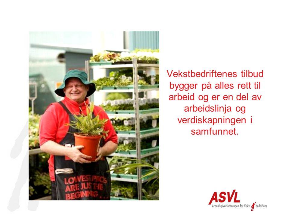 Vekstbedriftenes tilbud bygger på alles rett til arbeid og er en del av arbeidslinja og verdiskapningen i samfunnet.
