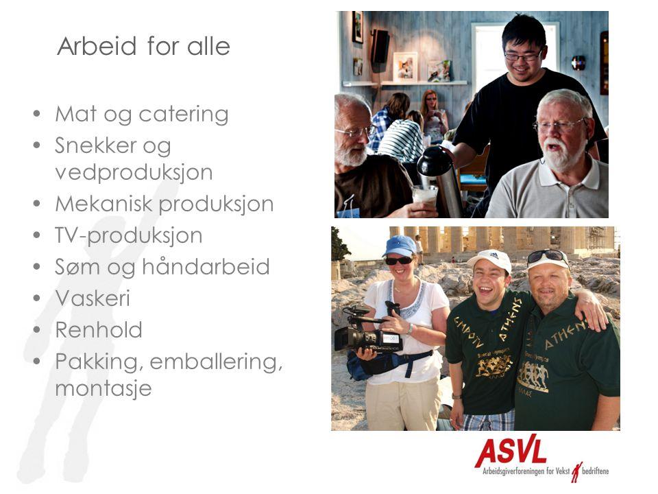 Arbeid for alle •Mat og catering •Snekker og vedproduksjon •Mekanisk produksjon •TV-produksjon •Søm og håndarbeid •Vaskeri •Renhold •Pakking, emballering, montasje