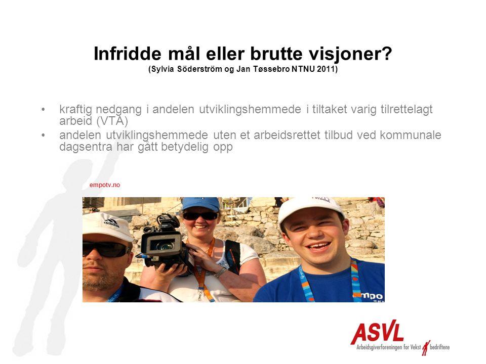 Infridde mål eller brutte visjoner? (Sylvia Söderström og Jan Tøssebro NTNU 2011) •kraftig nedgang i andelen utviklingshemmede i tiltaket varig tilret