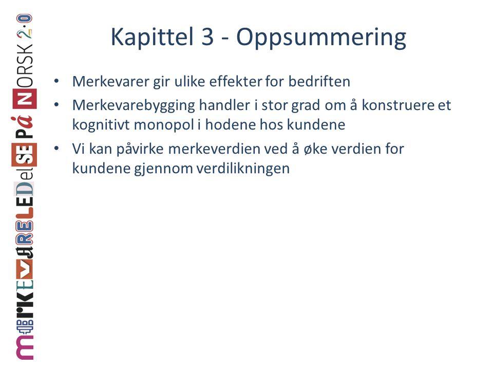 Kapittel 3 - Oppsummering • Merkevarer gir ulike effekter for bedriften • Merkevarebygging handler i stor grad om å konstruere et kognitivt monopol i