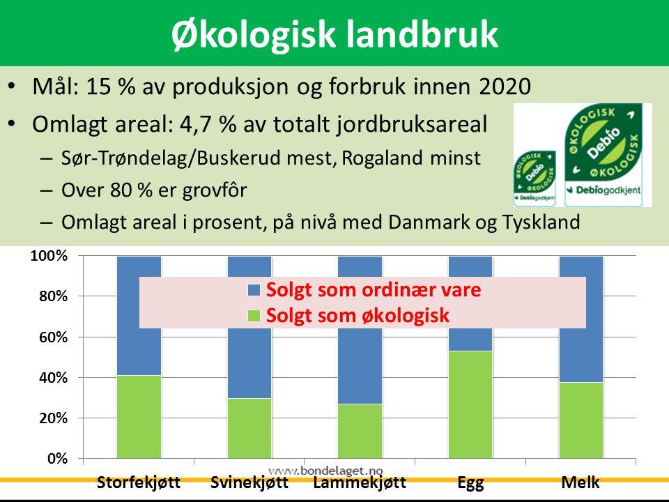 Økologisk landbruk • Mål: 15 % av produksjon og forbruk innen 2020 • Omlagt areal: 4,7 % av totalt jordbruksareal – Sør-Trøndelag/Buskerud mest, Rogaland minst – Over 80 % er grovfôr – Omlagt areal i prosent, på nivå med Danmark og Tyskland