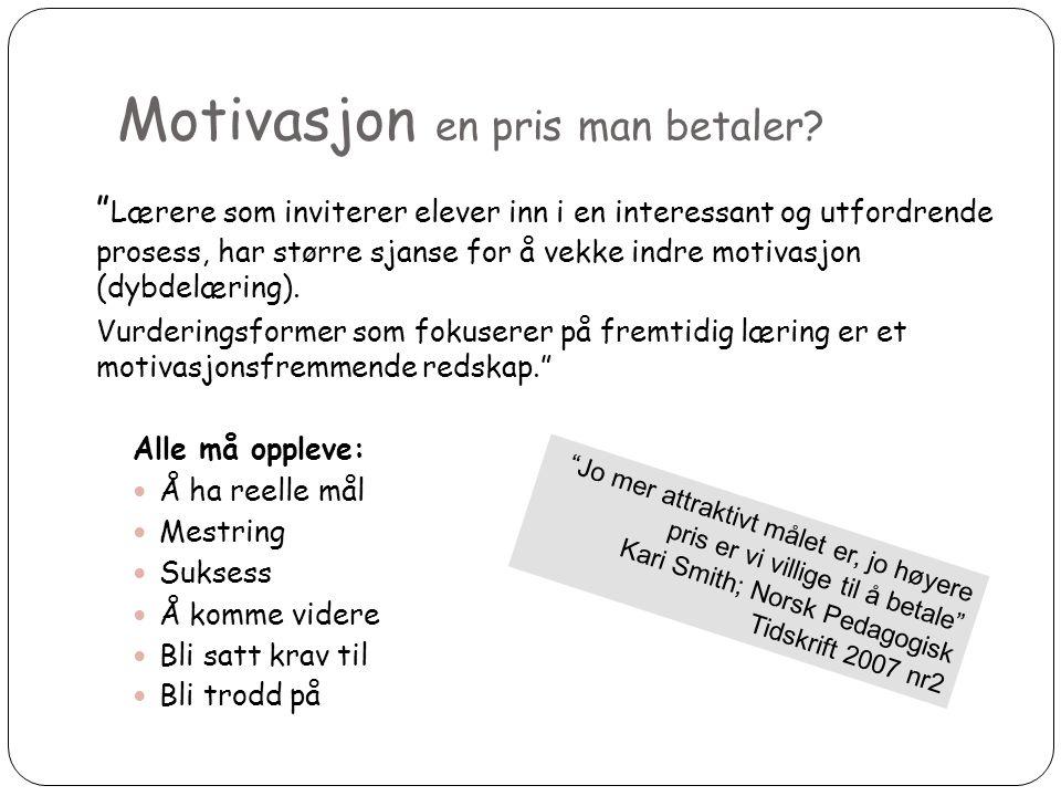 """Motivasjon en pris man betaler? 7 """" Lærere som inviterer elever inn i en interessant og utfordrende prosess, har større sjanse for å vekke indre motiv"""