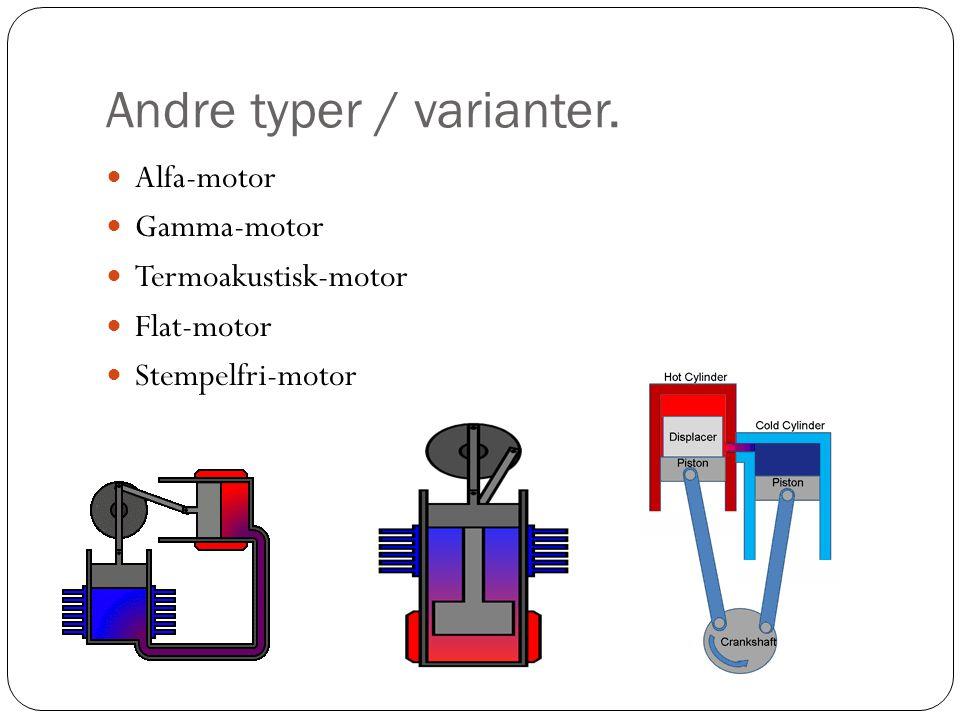 Andre typer / varianter.  Alfa-motor  Gamma-motor  Termoakustisk-motor  Flat-motor  Stempelfri-motor