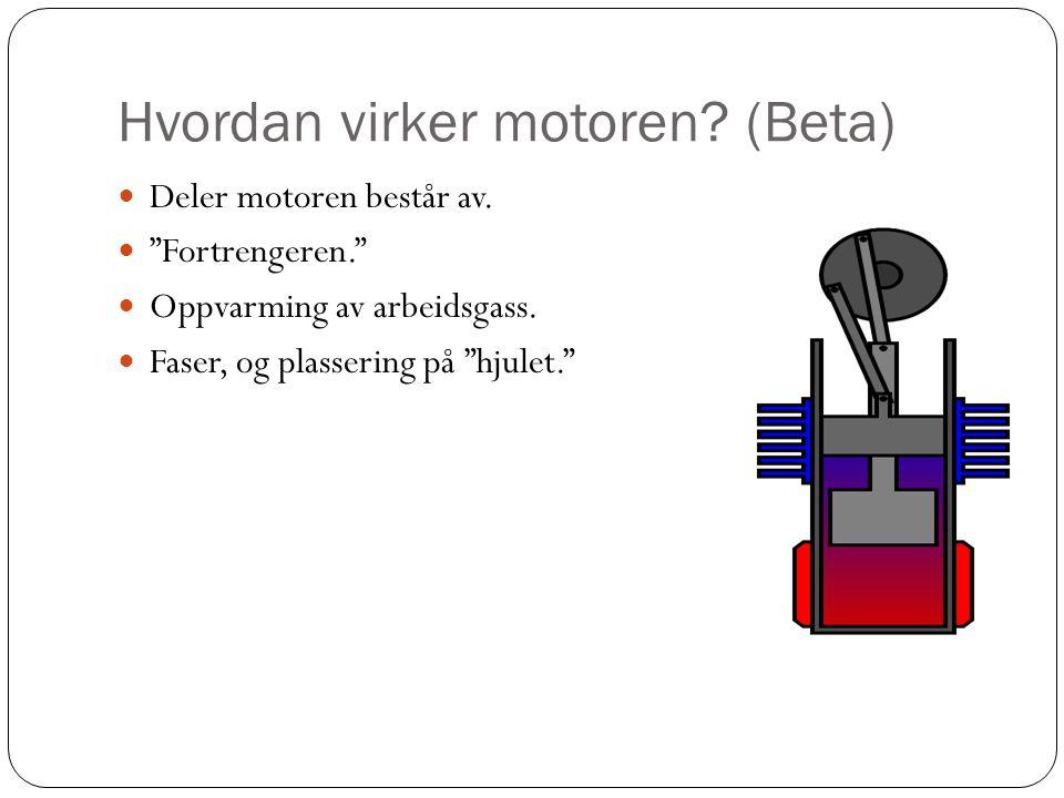 """Hvordan virker motoren? (Beta)  Deler motoren består av.  """"Fortrengeren.""""  Oppvarming av arbeidsgass.  Faser, og plassering på """"hjulet."""""""